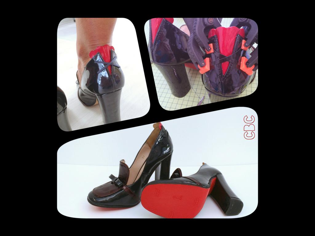 Cette photo représente une paire de chaussures à talons transformées au niveau du contrefort pour laisser plus de place au tendon d